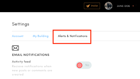 Alerts and notifications settings