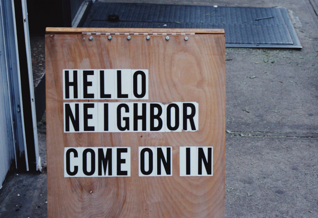 Welcome sign outside a Tenants' Association meeting